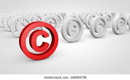 Copyright symbol and icon conceptual 3D illustration.