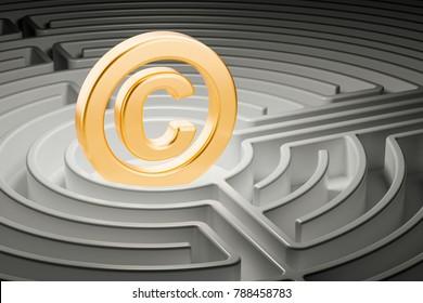 Copyright symbol inside labyrinth maze. 3D rendering