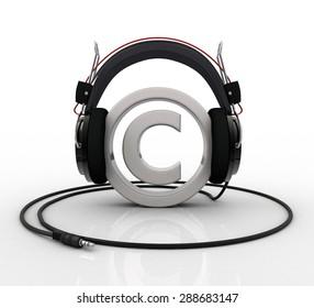 Copyright symbol wearing headphones