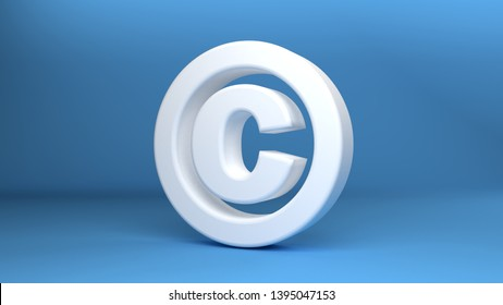 Copyright Symbol in white on blue background 3d Illustration