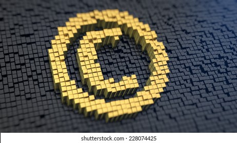 Copyright symbol of the yellow square pixels on a black matrix background. Author rights concept.