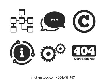 Copyrights and gear signs. Chat, info sign. Website database icon. 404 page not found symbol. Under construction. Classic style speech bubble icon.