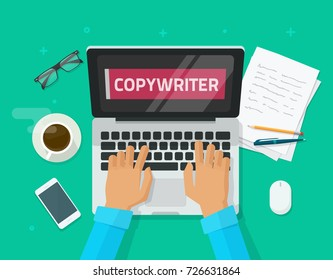 Copywriter working on laptop writing article illustration, flat carton workplace table with computer, person, copywriting text on screen, idea of bog author working, freelancer journalist place image