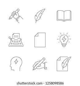 Copywriting outline icons on white background