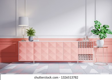 Coral cabinet with plant and gold lamp on white  wall ,3D Rendering