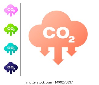Coral CO2 emissions in cloud icon isolated on white background. Carbon dioxide formula symbol, smog pollution concept, environment concept. Set color icons