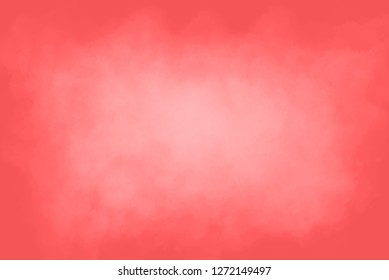 A coral coloured background with cloudy white mist emanating from the centre.