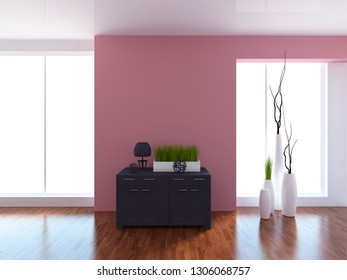 coral empty interior with a dresser. 3d illustration
