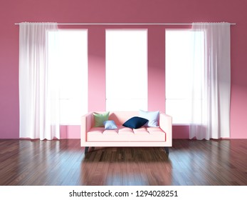 coral empty interior with a coral sofa. 3d illustration