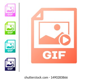 Coral GIF file document icon. Download gif button icon isolated on white background. GIF file symbol. Set color icons