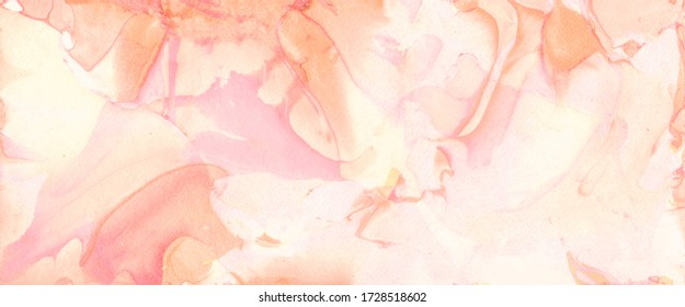 Coral Liquid Watercolour Marble. Liquid Dyed Ink Texture Art. Paper A4 Swirl Marble Poster. Textured Chevron Art. Effect Flyer Template. Coral Panorama Decorative Border.