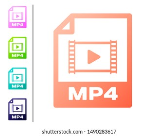 Coral MP4 file document icon. Download mp4 button icon isolated on white background. MP4 file symbol. Set color icons