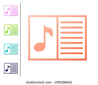 Coral Music book with note icon isolated on white background. Music sheet with note stave. Notebook for musical notes. Set icon in color buttons