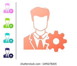 Coral Profile settings icon on white background. User setting icon. Profile Avatar with cogwheel sign. Account icon. Male person silhouette. Set icon in color buttons