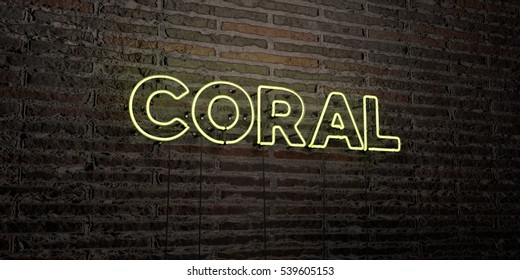 CORAL -Realistic Neon Sign on Brick Wall background - 3D rendered royalty free stock image. Can be used for online banner ads and direct mailers.