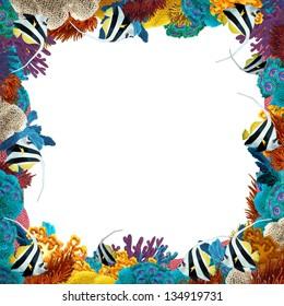 The coral reef - frame - border - illustration for the children