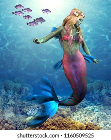 Coral Reef Mermaid 3D illustration - A school of Blue Rockfish swim along side of a beautiful mermaid as she glides along an ocean reef.