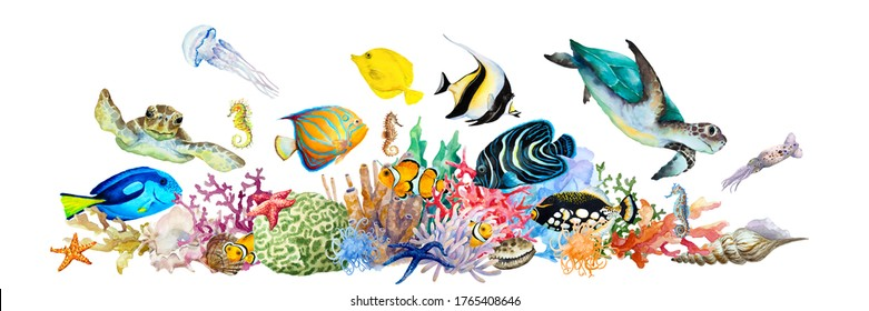 Coral reef with tropical fish, clownfish, triggerfish, angelfish, blue and yellow tang, sea turtles, sea horses, jellyfish, squid, anemones, algae. Hand drawn watercolor illustration.