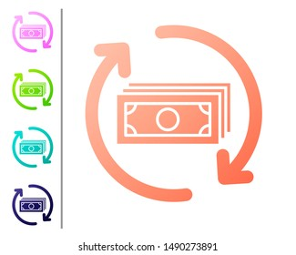 Coral Refund money icon isolated on white background. Financial services, cash back concept, money refund, return on investment, savings account. Set color icons