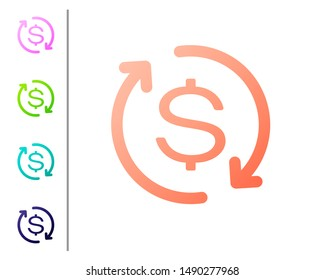 Coral Return of investment icon isolated on white background. Money convert icon. Refund sign. Dollar converter concept. Set icon in color buttons