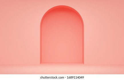 Coral room with a niche in the wall. Minimalist backdrop design for product promotion. 3d rendering