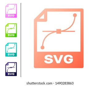 Coral SVG file document icon. Download svg button icon isolated on white background. SVG file symbol. Set color icons