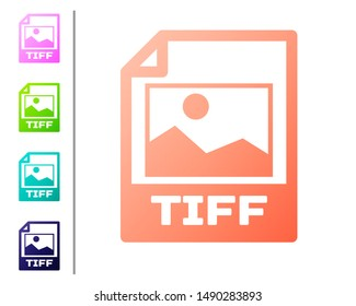 Coral TIFF file document icon. Download tiff button icon isolated on white background. TIFF file symbol. Set color icons