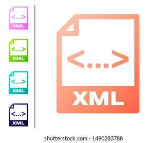 Coral XML file document icon. Download xml button icon isolated on white background. XML file symbol. Set color icons