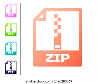 Coral ZIP file document icon. Download zip button icon isolated on white background. ZIP file symbol. Set color icons