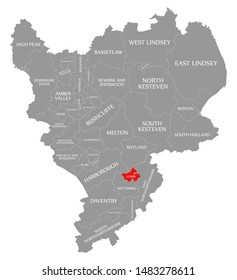Corby red highlighted in map of East Midlands England UK