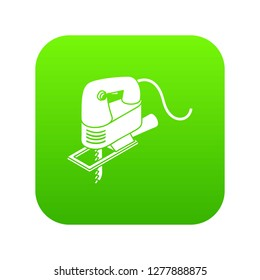Corded jig saw icon green isolated on white background