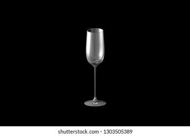 cordial liqueur glass isolated on black - drinking glass render, 3D illustration