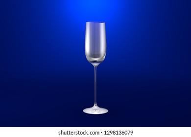 cordial liqueur glass on blue vivid background - drinking glass render, 3D illustration