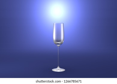 cordial liqueur glass on light blue highlighted artistic background - drinking glass render, 3D illustration