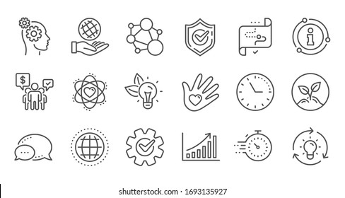 Core values line icons. Integrity, Target purpose and Strategy. Helping hand, social responsibility, commitment goal icons. Linear set. Quality line set.