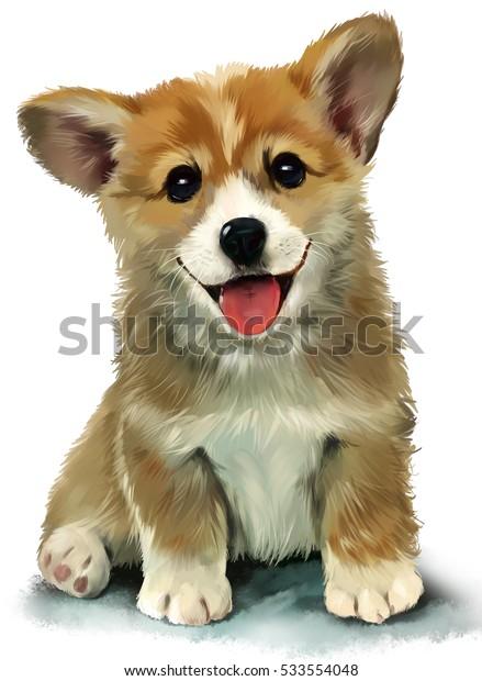 Corgi Puppy watercolor painting