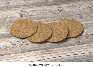 Cork coasters. Isolated on wooden background. Include clipping path. 3d render