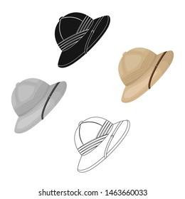Cork hat from the sun.African safari single icon in cartoon style bitmap symbol stock illustration web.