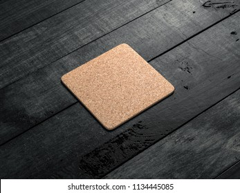 Cork pad, beer coaster Mockup on the wooden table. 3d rendering