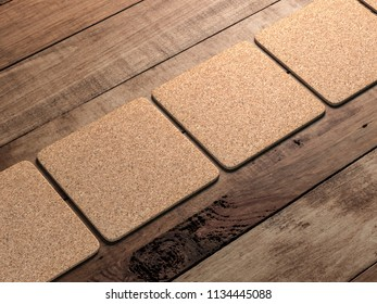 Cork pads Mockup on the wooden table. 3d rendering