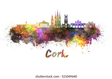 Cork  skyline in watercolor splatters with clipping path