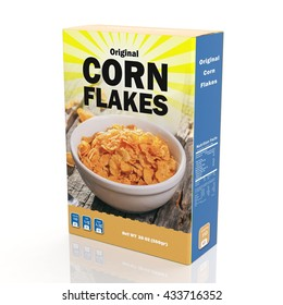 Corn Flakes, cereal paper packaging, isolated on white background. 3D rendering