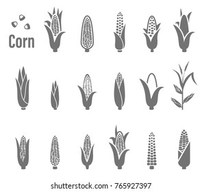 Corn icons. Set of icons and logos with corn on a white background.