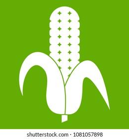 Corncob icon white isolated on green background. illustration
