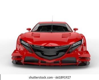 Cornell red concept super sports car - front view closeup - 3D Illustration