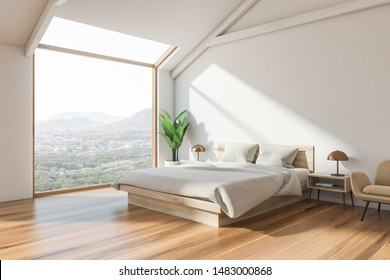 Corner of attic bedroom with white walls, wooden floor, master bed with white blanket, beige armchair and window with mountain view. 3d rendering