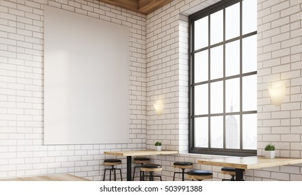Corner of bar with window, stools and square tables. Vertical poster on white brick wall. Concept of drinking. 3d rendering. Mock up
