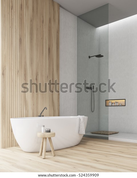 Corner of a bathroom with a wooden part of the wall and floor. Shower cabin with glass door is at a side of the room. A towel is hanging on the bathtub. 3d rendering. Mock up