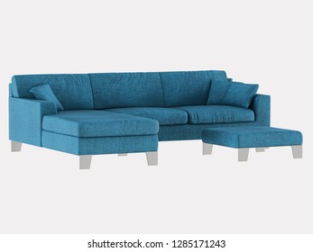 Corner blue sofa cloth and ottoman on a white background 3d rendering