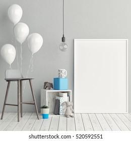 Corner of children room, Empty poster, 3d illustration